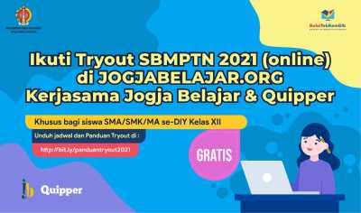 Ikuti Tryout SBMPTN 2021 (online) di JOGJABELAJAR.ORG Kerjasama Jogja Belajar & Quipper